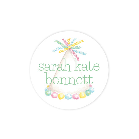 Party Hat Colorful Round Sticker