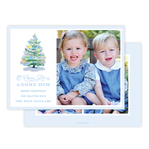 Pastel Christmas Tree Landscape Christmas Card