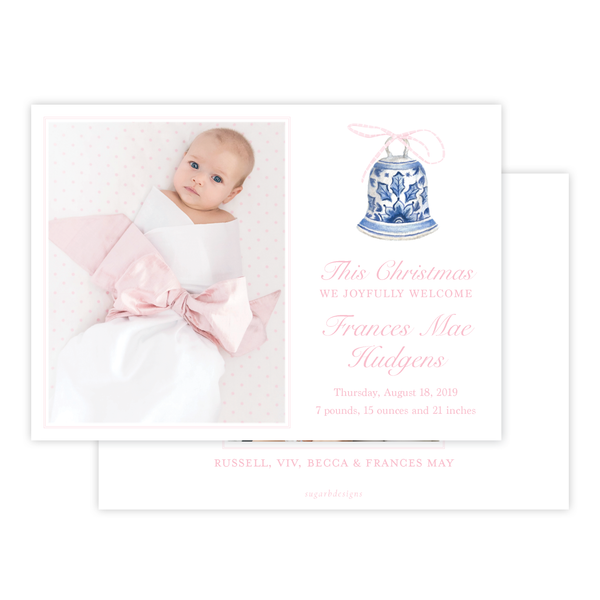 Peden Pink Birth Announcement Christmas Card