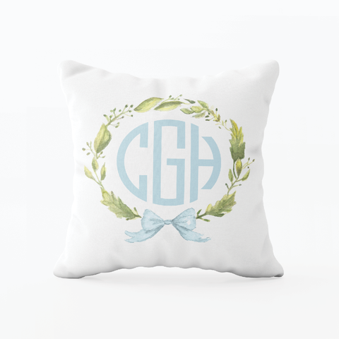 Petite Wreath Blue Bow Monogram Pillow