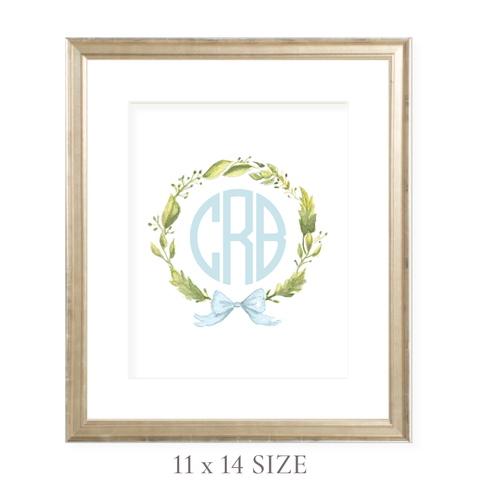 Petite Wreath Blue Monogram 11 x 14 Watercolor Print