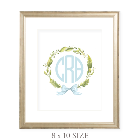 Petite Wreath Blue Monogram 8 x 10 Watercolor Print