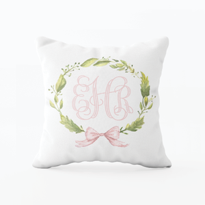 Petite Wreath Pink Bow Monogram Pillow