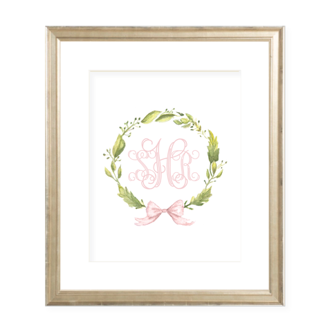 Petite Wreath Pink Monogram 8 x 10 Watercolor Print
