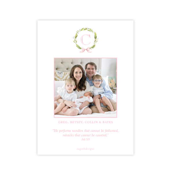 Petite Wreath Pink Birth Announcement
