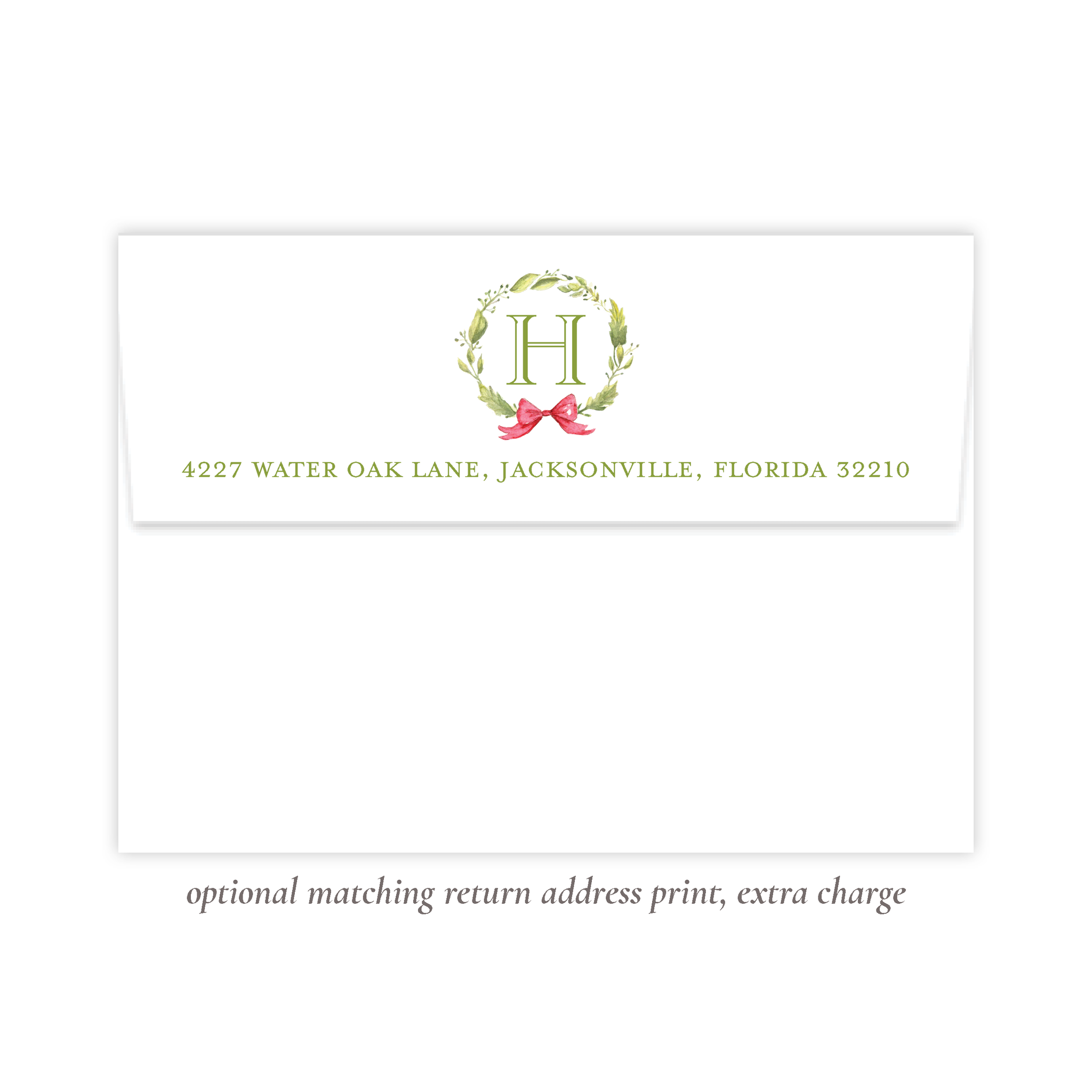 Petite Wreath Red Return Address Print
