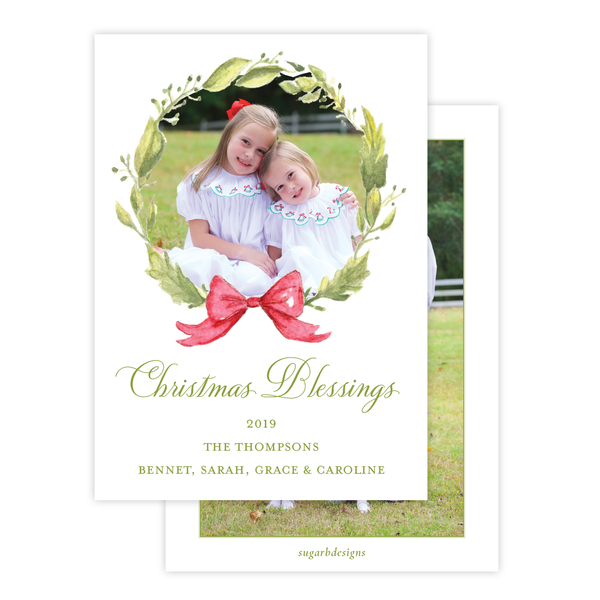 Petite Wreath Red Family Christmas Card