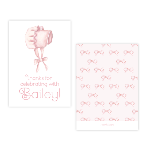 Pink Bonnet Party Favor Gift Tag