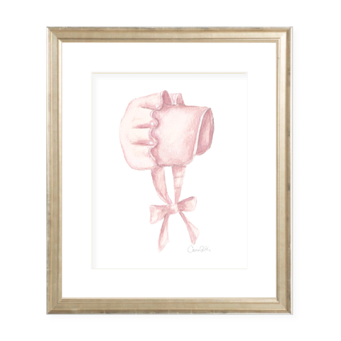 Pink Bonnet Portrait Watercolor Print
