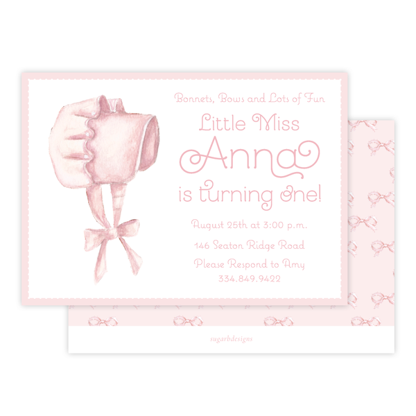 Pink Bonnet Birthday Landscape Invitation