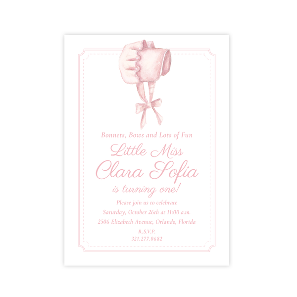 Pink Bonnet Birthday Portrait Invitation