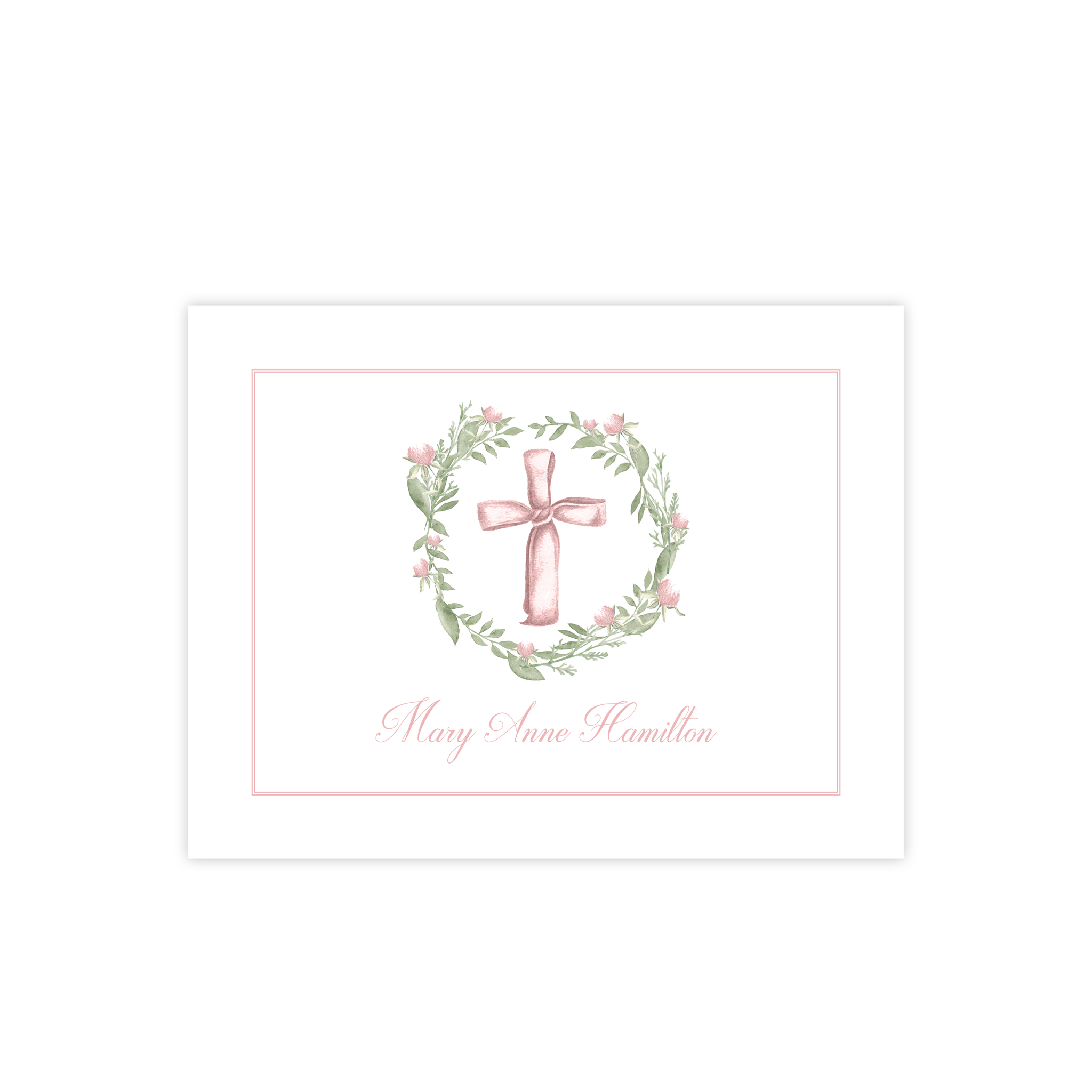 Pink Cross and Petite Wreath Fold Over Stationery