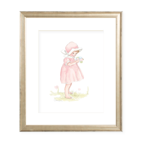 Pink Petal Girl Watercolor Print by Sugar B Designs