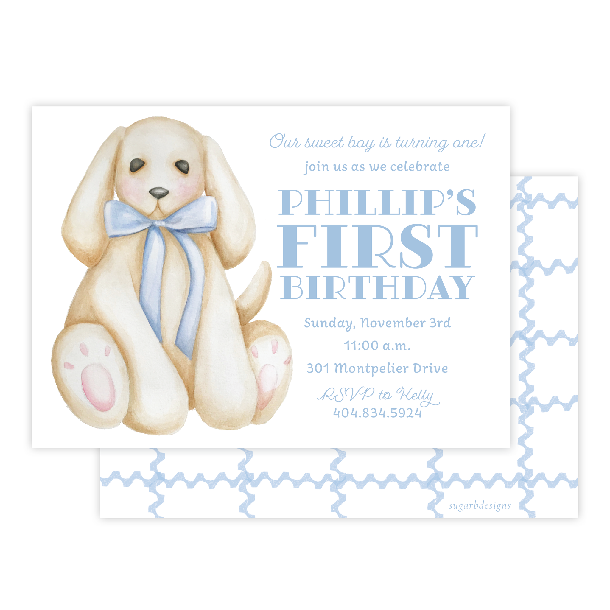 Plush Pup Blue Birthday Invitation