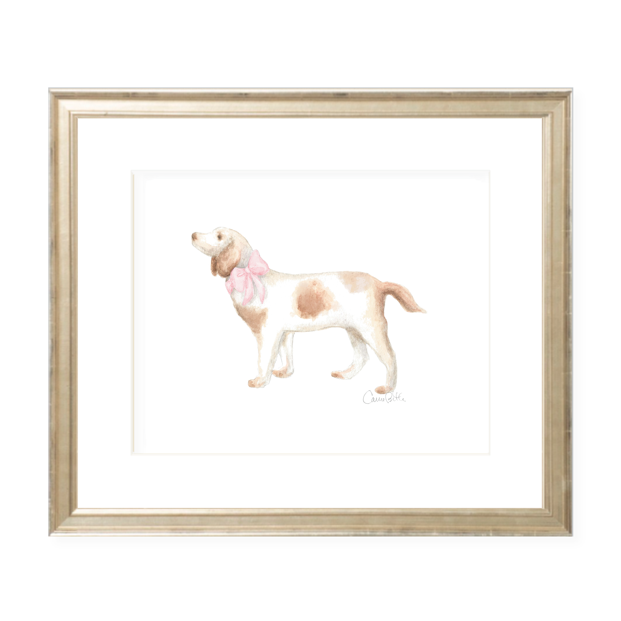 Pointer Pup and Pink Sash Landscape Watercolor Print