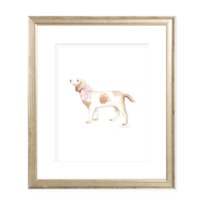 Pointer Pup and Pink Sash Portrait Watercolor Print