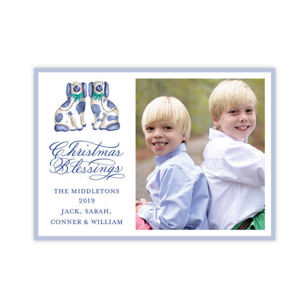 A Staffordshire Pair Blue and Green Landscape Christmas Card