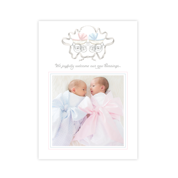 Pram Twins Pink and Blue Portrait Birth Announcement