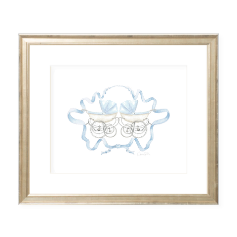Pram Blue Twins Watercolor Print