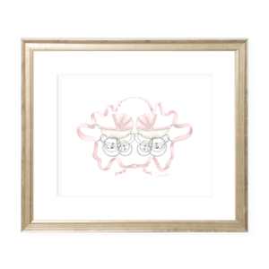 Pram Pink Twins Watercolor Print