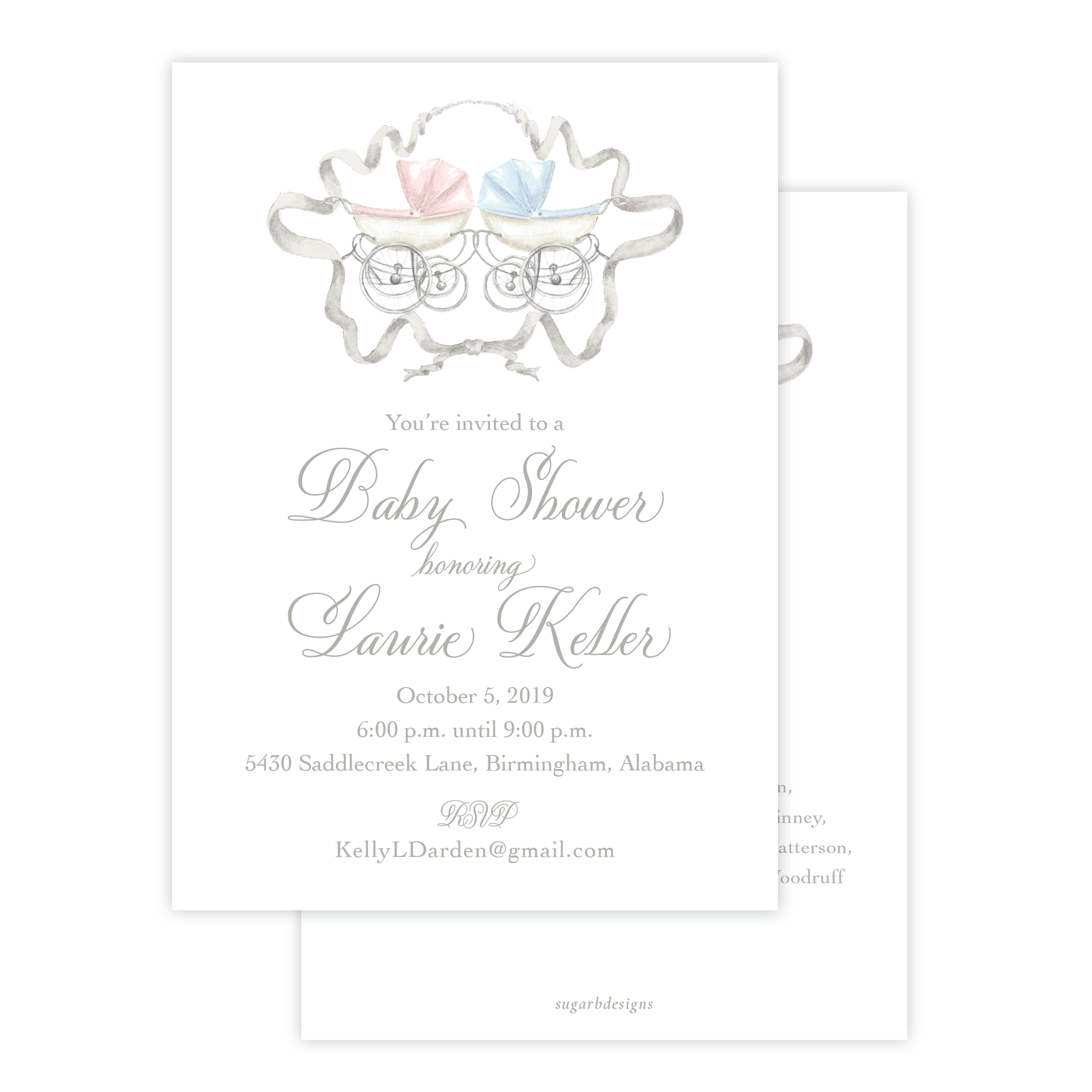 Pram Blue and Pink Twins Baby Shower Invitation