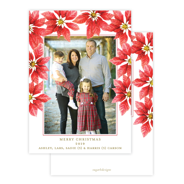 Pretty Poinsettia in Red Christmas Card