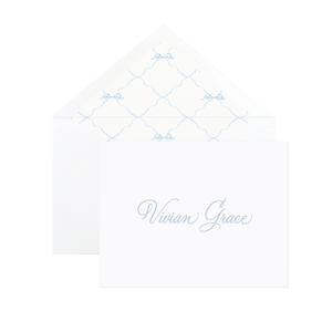 Quita Blue Triumphant Bow Letterpress Fine Paper Fold Over Stationery
