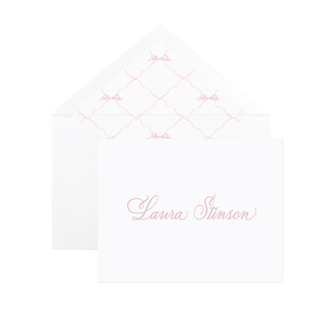 Quita Pink Triumphant Bow Letterpress Fine Paper Fold Over Stationery by Sugar B Designs