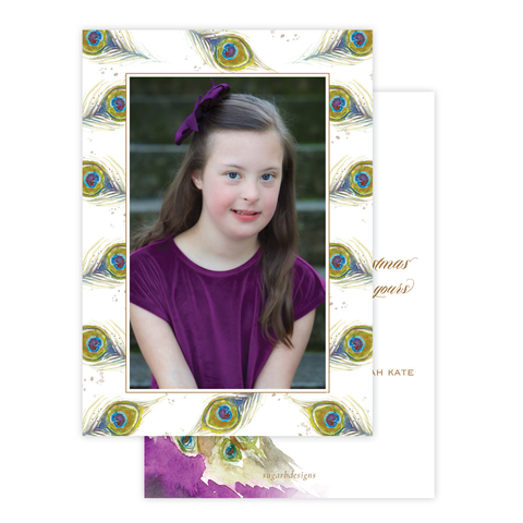 Roberson Peacock Border Christmas Card Portrait