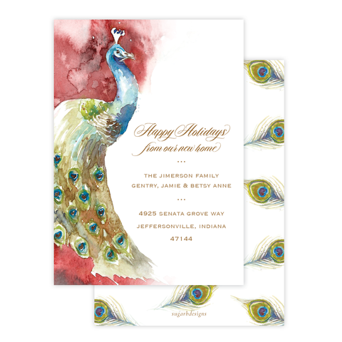 Roberson Peacock Change of Address Christmas Card