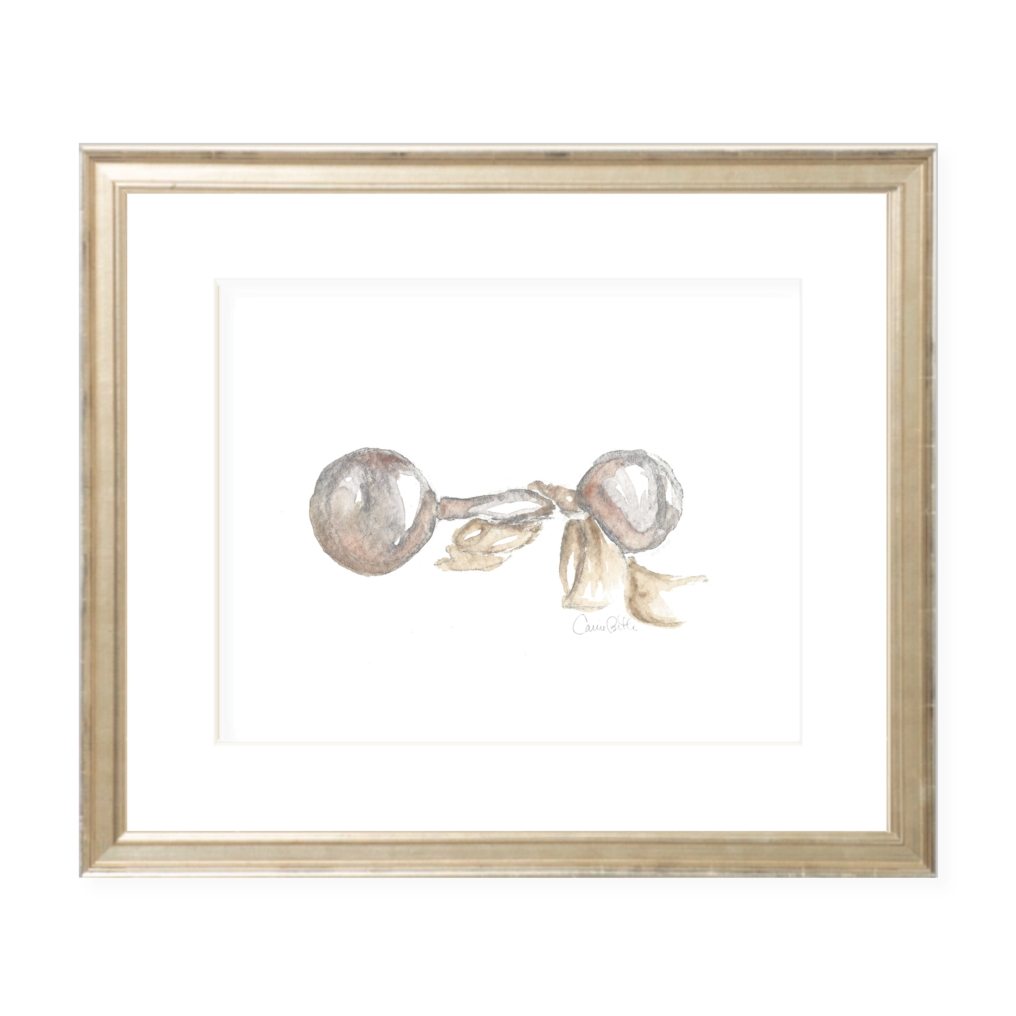 Carlson Rattle with Neutral Sash Watercolor Print