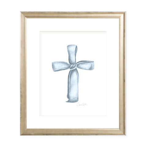 Ribbon Cross in Blue Watercolor Print
