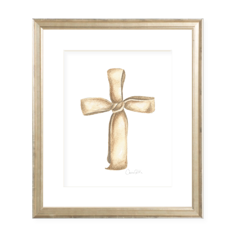 Ribbon Cross in Neutral Watercolor Print