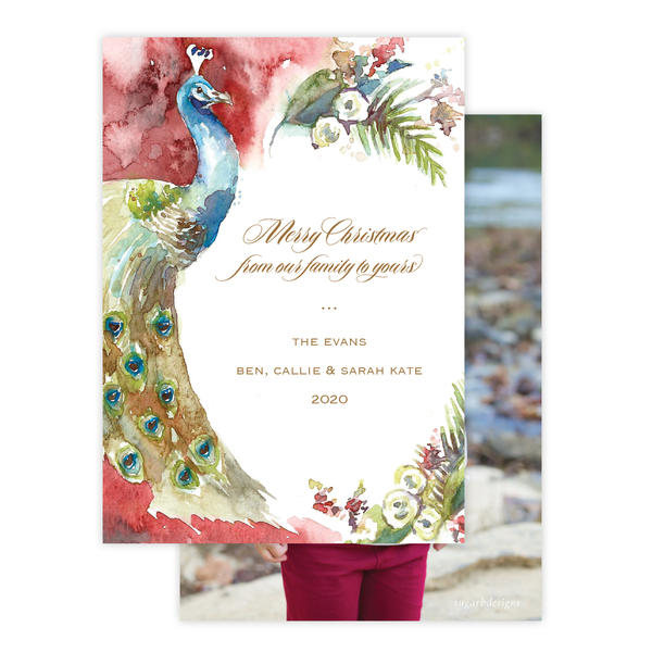 Roberson Peacock Full Floral Red Border Christmas Card