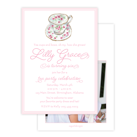 Roses and Teacups Birthday Invitation