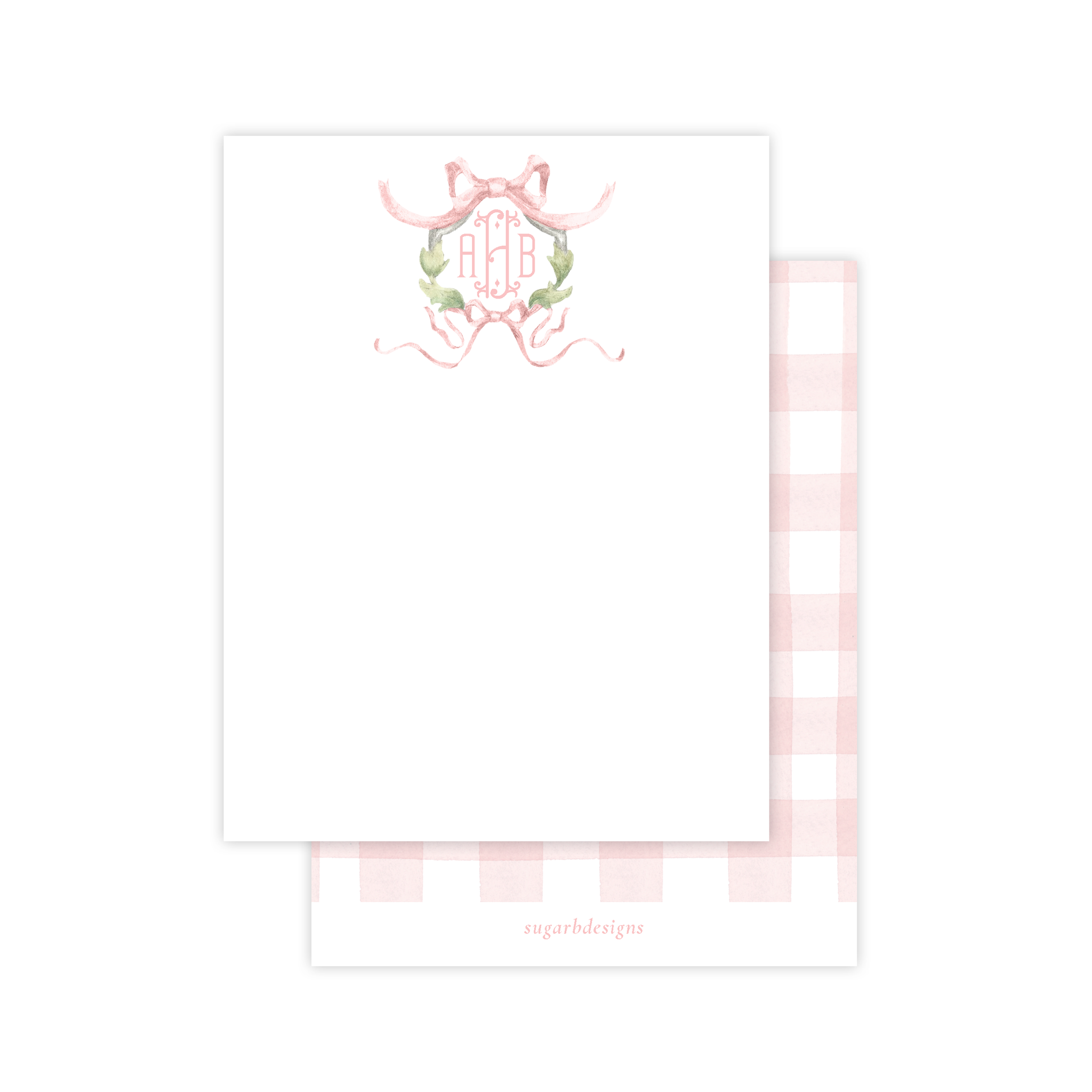 Rothblum Wreath Pink Flat Stationery