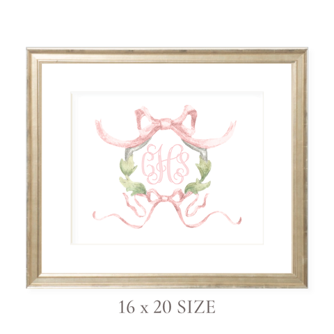Rothblum Pink Wreath Monogram 16 x 20 Watercolor Print