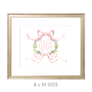 Rothblum Pink Wreath Monogram 8 x 10 Watercolor Print by Sugar B Designs