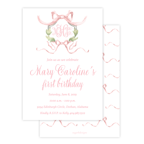 Rothblum Pink Birthday Invitation