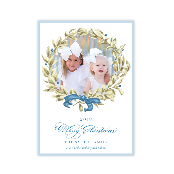 Meryl Wreath Blue Change of Address Christmas Card