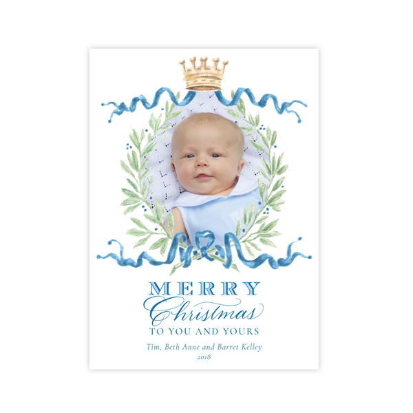 Royal Wreath Blue Change of Address Christmas Card