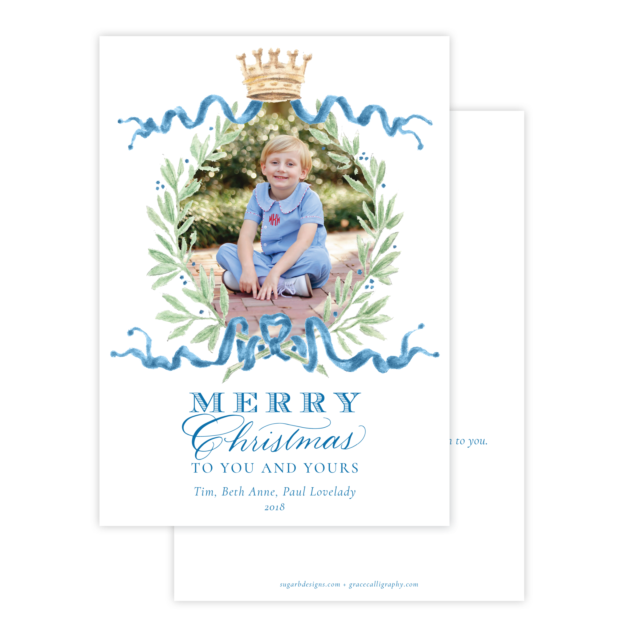Royal Wreath Blue Vertical Christmas Card