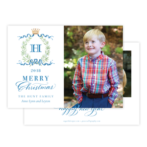 Royal Wreath Blue Landscape Christmas Card