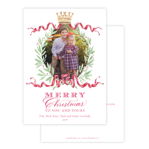 Royal Wreath Red Vertical Christmas Card