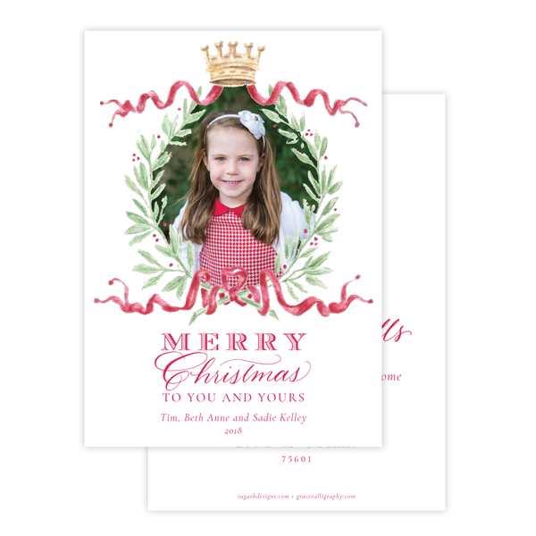 Royal Wreath Red Change of Address Christmas Card