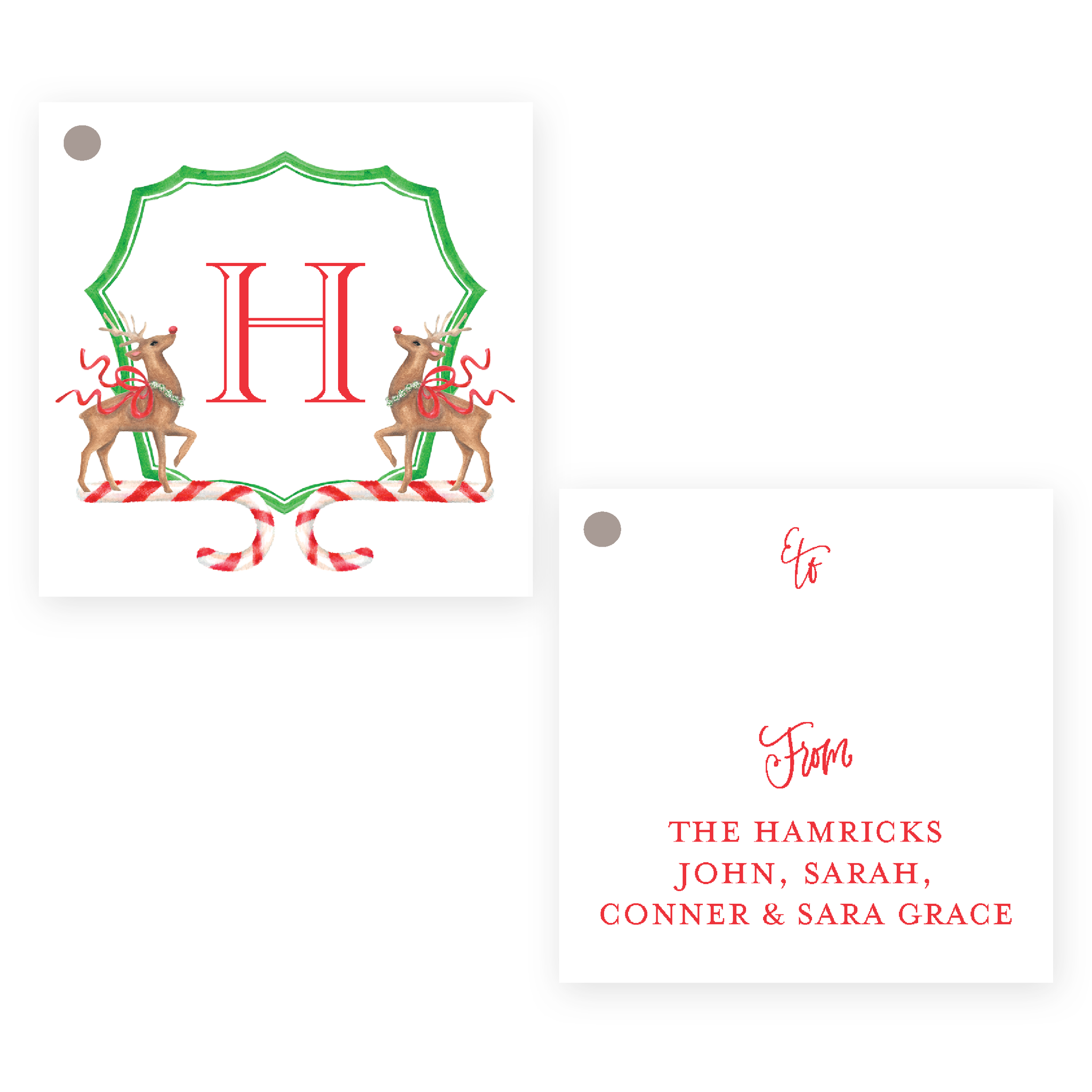 Rudolph's Delight Square Christmas Gift Tag
