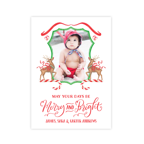 Rudolph's Delight Crest Photo Portrait Christmas Card