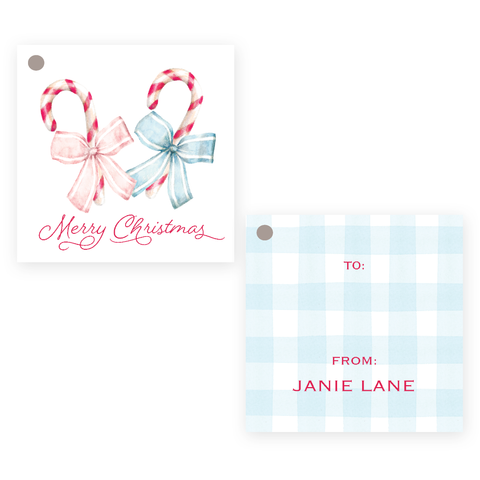 Sweet Treats Pink and Blue Square Christmas Gift Tag