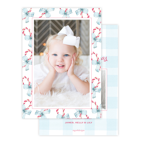 Sweet Treats Blue Border with photo on back Christmas Card Portrait