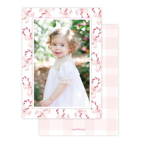 Sweet Treats Pink Border Christmas Card Portrait